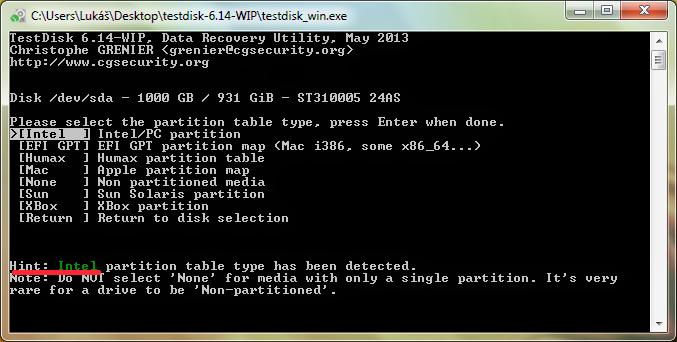 TestDisk tabulka rozdělení disku