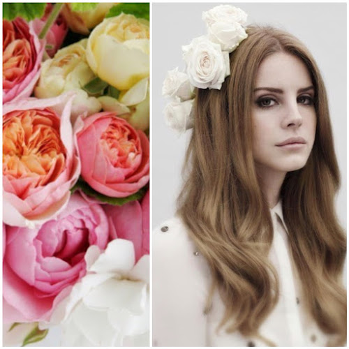 Lana Del Rey Editorial Pink Flowers White Floral Headband
