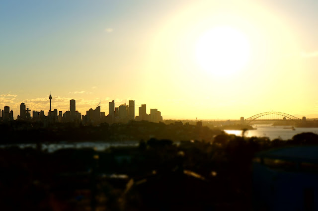 Sunset Over Sydney Harbour Bridge and City Skyline