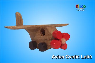 Avion Cvetić Letić (u boji), drvena igračka za decu