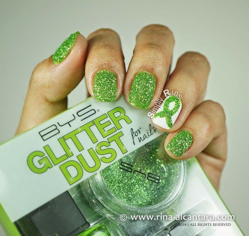 Green Ribbon Nail Art Using BYS Glitter for Nails