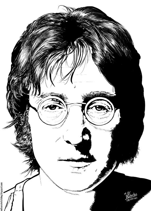Ink drawing of John Lennon, using Krita 2.4.