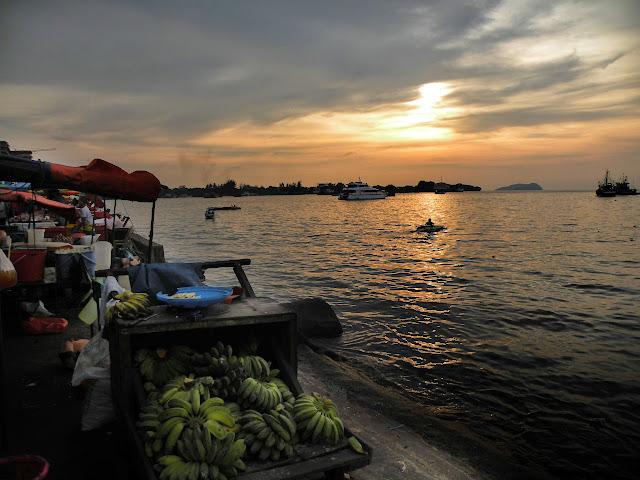Food Market at sun set Kota Kinabalu Borneo Malaysia