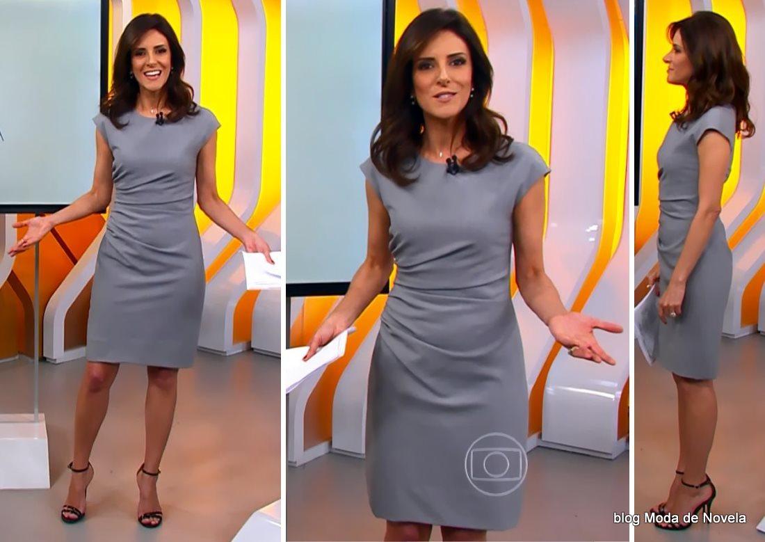 moda do programa Hora 1, vestido cinza da Monalisa Perrone dia 1º de dezembro de 2014