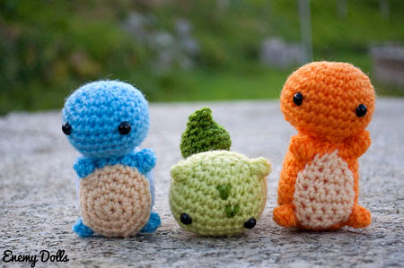 pokemon charmander, squirtle and bulbasaur amigurumi