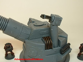 Close up of rotary anti-aircraft gun on heavy cannon turret Science Fiction war game terrain and scenery