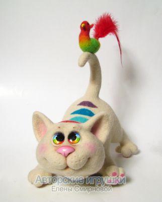 Войлочная игрушка, кот, автор Елена Смирнова