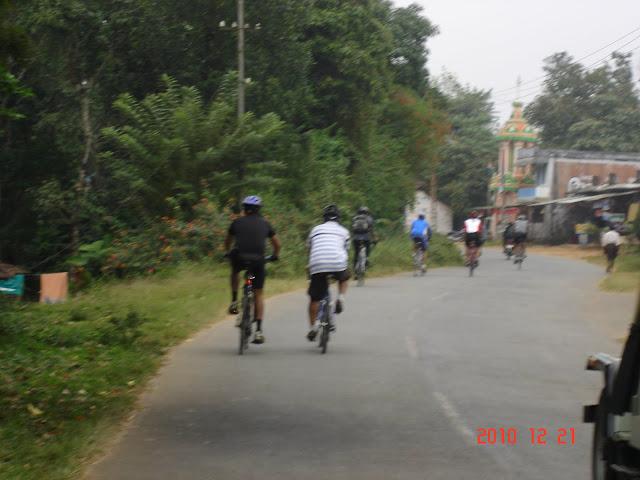 Stream of cyclists in idyllic Kerala