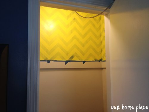 Yellow Chevron Painted Wall Closet