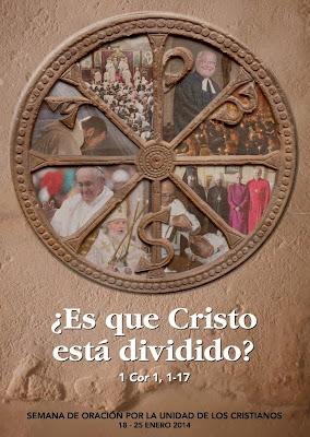 Crismón con imágenes de distintos grupos cristianos en cada una de las porciones en que divide el círculo
