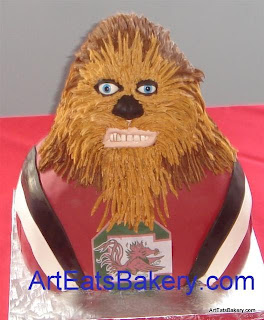 Stars Wars Chewy 3D sculpture in USC Gamecock's football jersey custom creative fondant and butter cream Groom's cake design