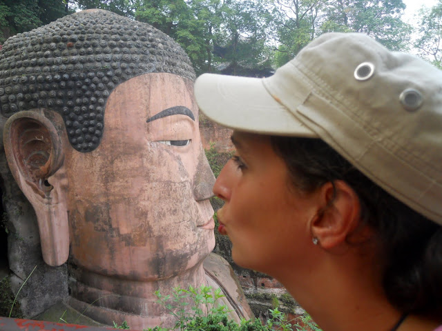 The buddha gets a kiss
