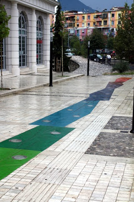 Colorful walkway and buildings in Tirana Albania