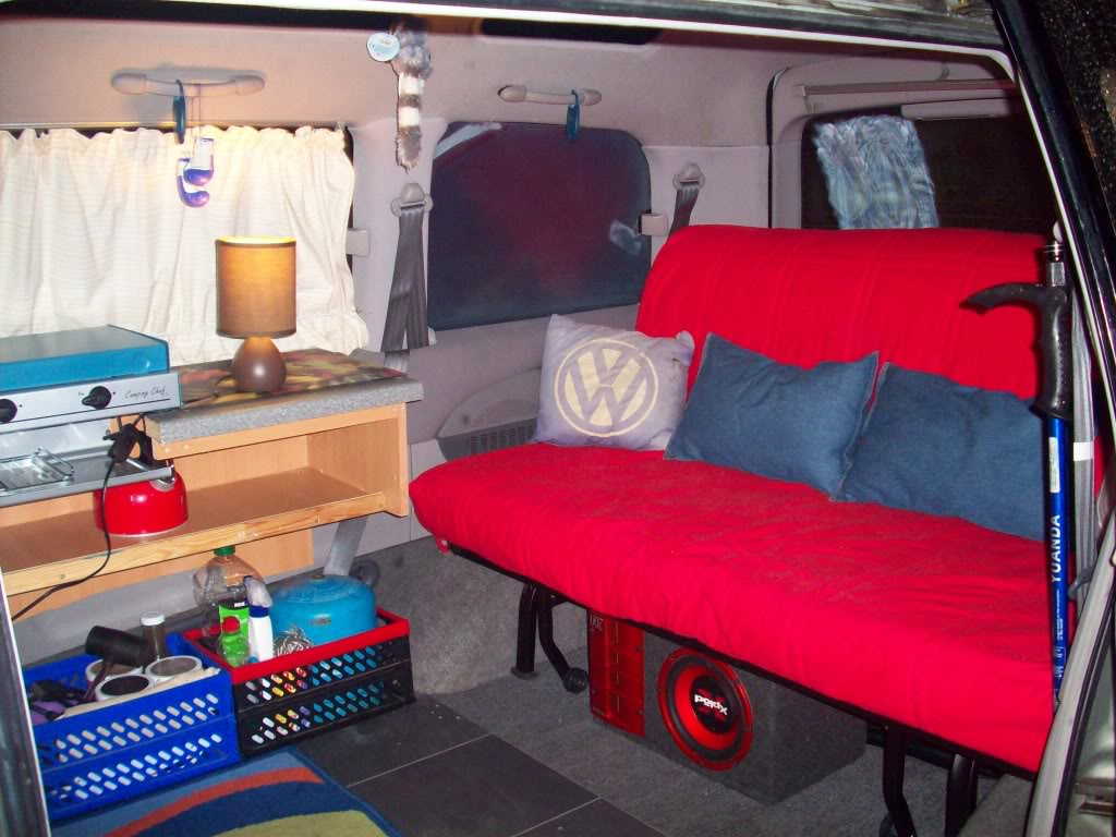 Using A Standard Ikea Sofa Bed And Shelves This Van Provide Comfortable Seating For Day Configuration Full Size Double Night