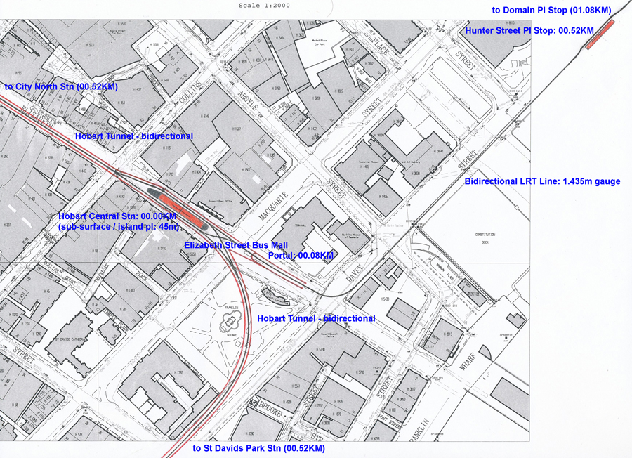 Hobart Light Rail Metro Surface And Subsurface Station Design - Hobart map