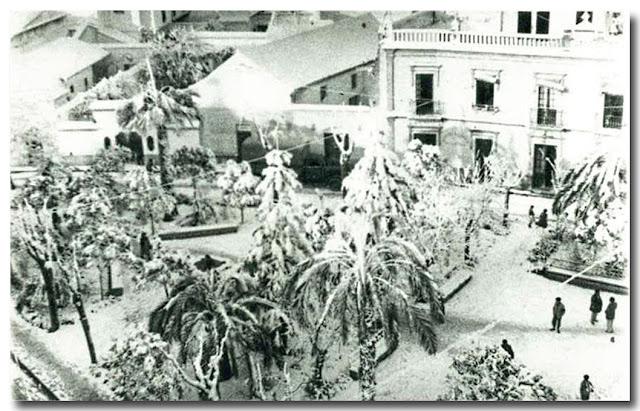 Los Jardines.-Nevada en Dos Hermanas 3 de febrero de 1954.