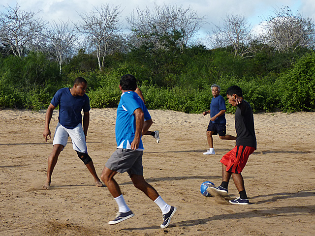The crew playing soccer