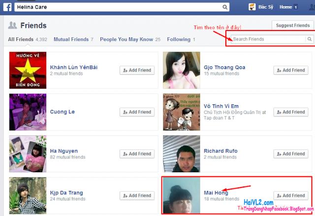 tìm tên tài khoản facebook bị mất