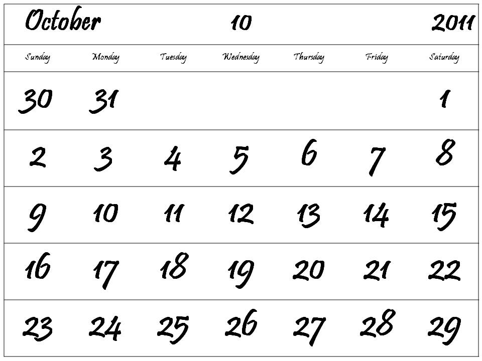 October 2011 Calendar Printable October 2011 Calendar Free Printable 2011 Calendar