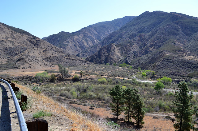 hills sloping down around a tributary to Castaic