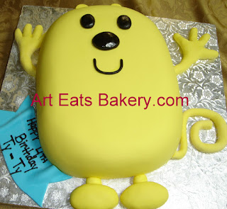 Wow Wow Wubbzy sculpted yellow fondant custom unique kid's birthday cake
