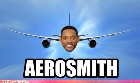 photo of Will Smith's face on an airplane...Aerosmith