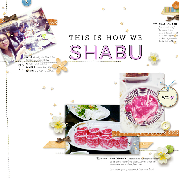 This is How We Shabu // Scrapbook Layout // 12x12 // To the Moon and Back by Heather Roselli