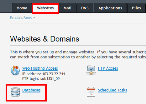 plesk websites - databases