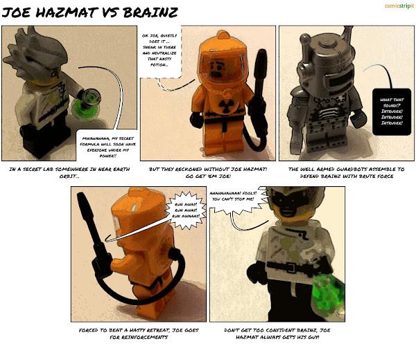 Joe Hazmat vs Mad Scientist, a lego comic strip made with Comic Strip It!