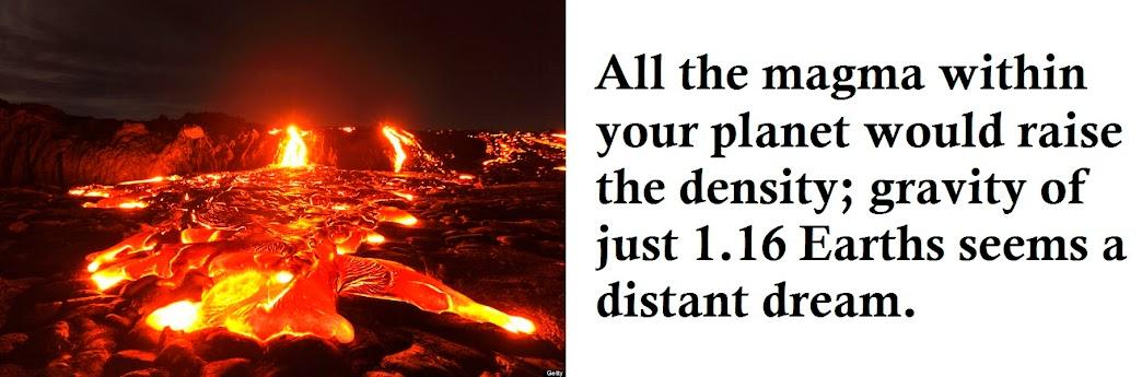 Magma raises density; 1.16 Earth seems far-fetched.