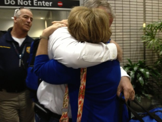 Doug Meyer and his wife Barb have an emotional reunion