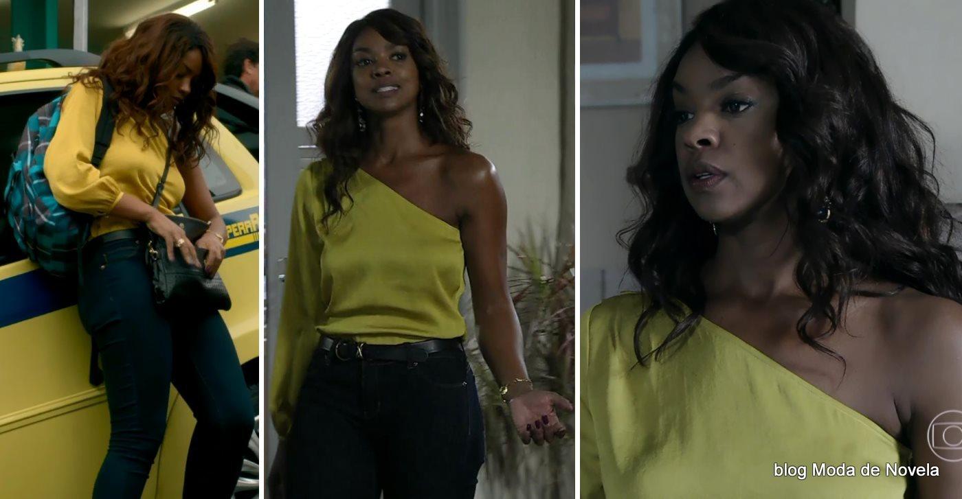 moda da novela Império - look da Juliane com blusa mula manca dia 3 de setembro