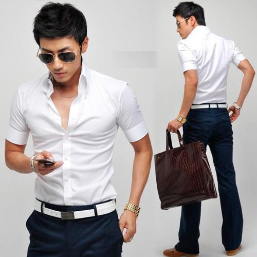 8afa9675 Korean Mens Button-down Short Sleeve Fitted Formal Dress White New .
