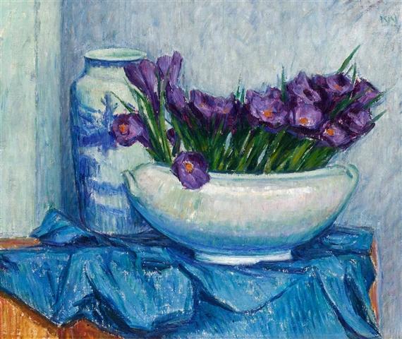 Karl Nordström - Violett krokus i vit skål