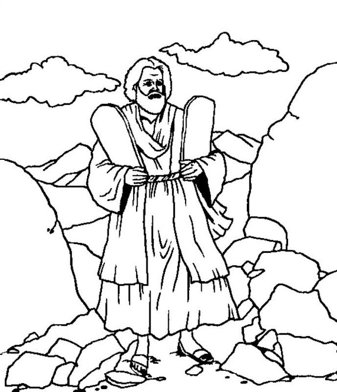 Pinto Dibujos: Moisés, los diez mandamientos para colorear