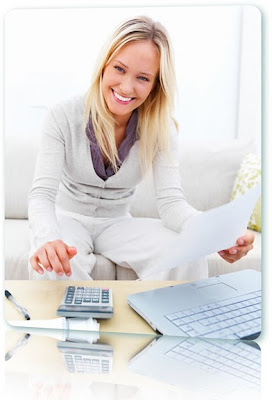 Smiling woman planning a budget.