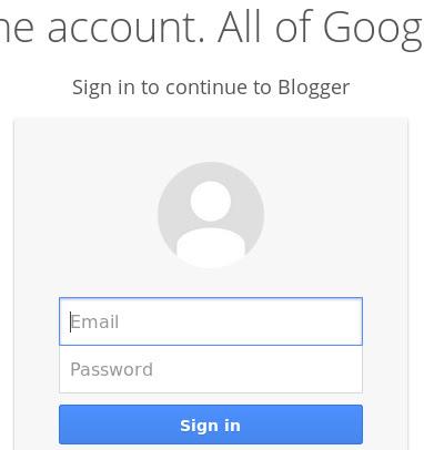 Tampilan halaman login Blogger terbaru