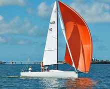 J/70 one-design sailboat- sailing Galveston Bay, Houston- with all-women crew