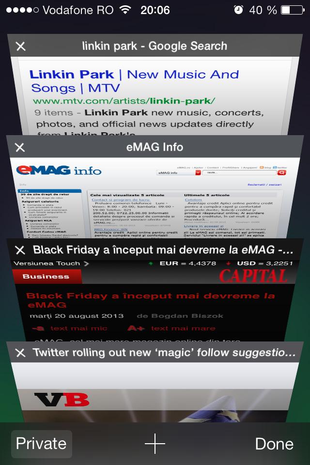 iOS 7 Safari tab switching