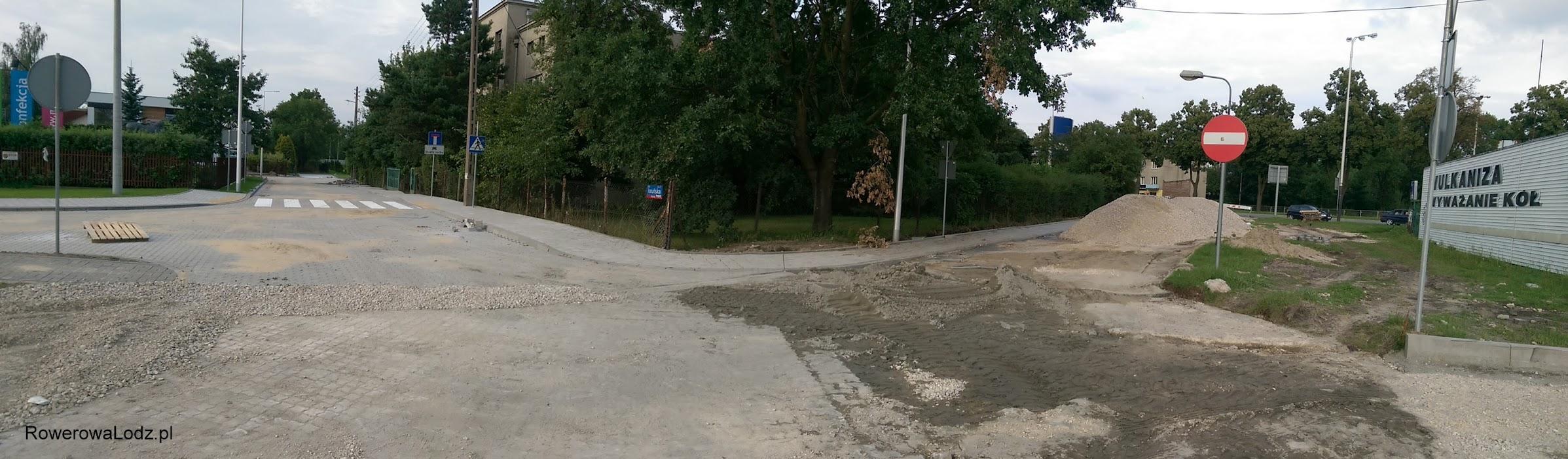 Przy ulicy Toruńskiej widać postęp prac na ulicy, nie zaś przy drodze dla rowerów