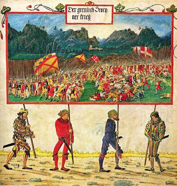 Albrecht Altdorfer - Emperor Maximilian triumphal scene. The Swiss War