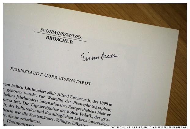 Alfred Eisenstaedt autograph