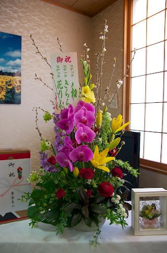 会場を飾る花