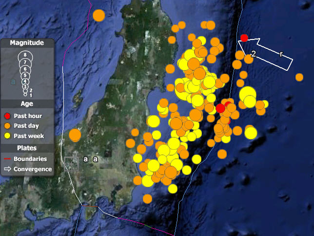 Google Earth File Screen Capture Showing Seismic Activity Off The Coast Of  Japan At 8:30 Am On March 12, 2011. (The Lines Drawn Indicate Plate  Boundaries.