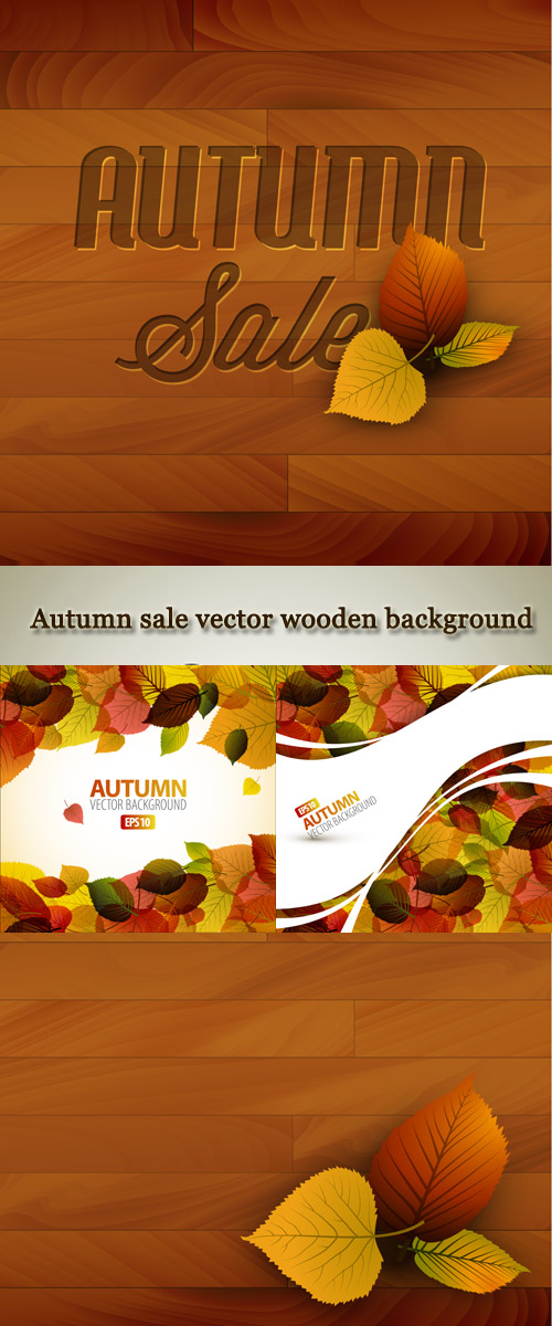 Stock: Autumn sale vector wooden background
