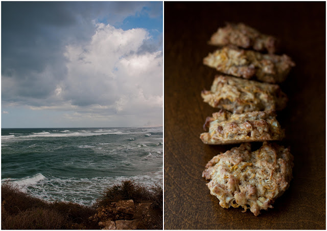 carrot cookies, stormy sea in israel