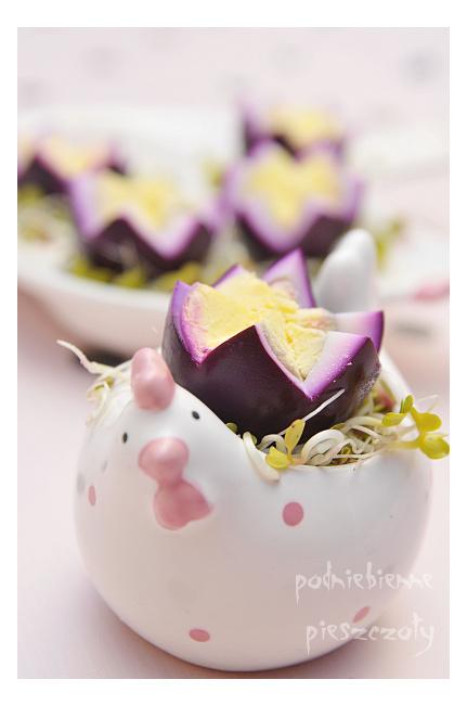 Fioletowe kwiatuszki z jajek