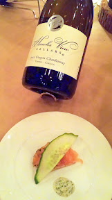 A Grand Feast of Oregon, by Hawks View Cellars and Irving St Kitchen: Pairing 1 of Irving St Kitchen Salmon Gravlax, Sauce Gribiche, Rye Crackers. Paired with 2012 Hawks View Oregon Chardonnay