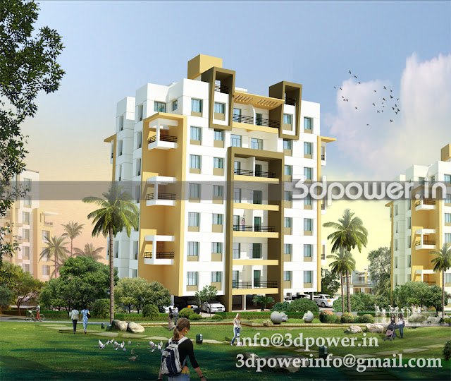 3D view of Apartment Building A Type with a garden view.