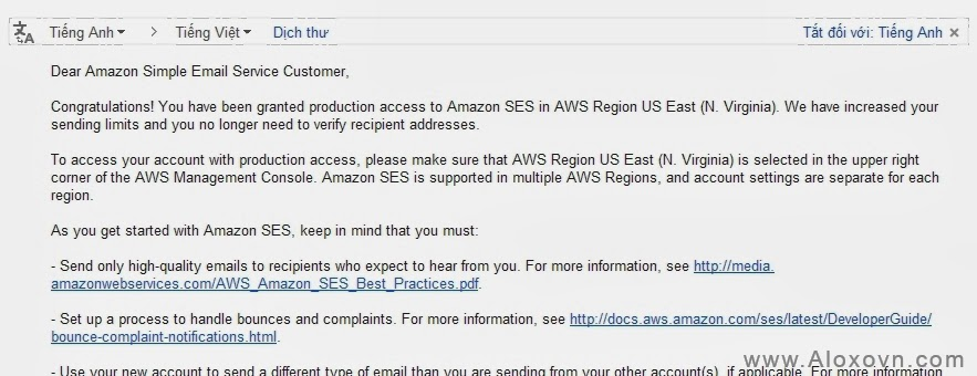 Request Production Access thanh cong Email Amazon SES